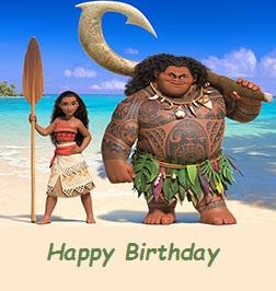 moana birthday cards