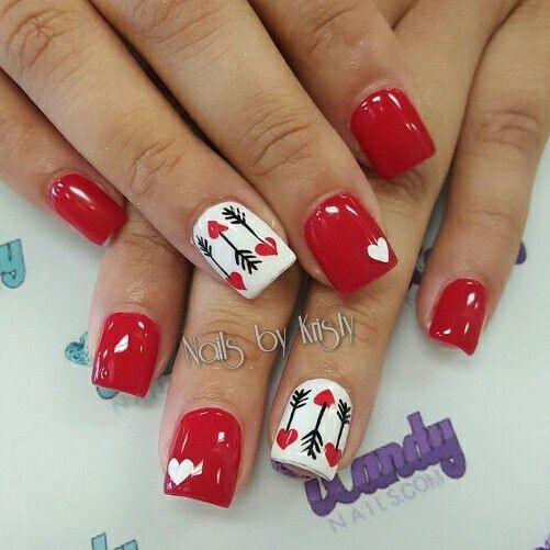 women's red and white nails